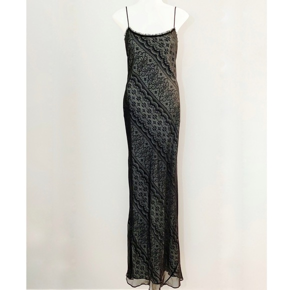 Laundry by Shelli Segal Black Spaghetti Strap Lace-Trim Maxi Dress